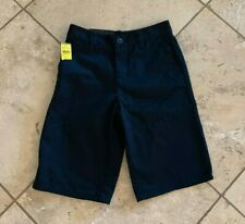 NWT Boys Blue Crown Solid Navy Chino Shorts Size 24