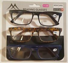 Montana MR73 3er Spar Pack Gafas de Lectura Negro Havanna Azul Con 1 Etui Acción
