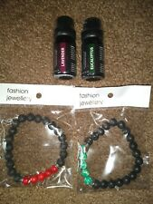 Lava Bead Bracelets 2 Pack, Red And Green W/ Lavender And Eucalyptus...