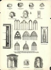 VINTAGE WOODCUT -  PROGRESSIVE EXAMPLES OF WINDOWS IN THE 13TH & 14TH CENTURIES