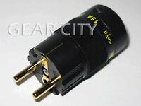 ppl5e Gold EU Schuko Mains Power Plug Male Copper Connector Cable Cord HiFi