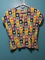 Women's Beach Theme Blouse Shirt Top Handmade? No Tags Approx Sz L Shoulder Pads