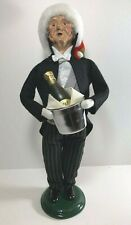 Byers' Choice 1999 Holiday Butler with Santa Hat and Champagne - signed