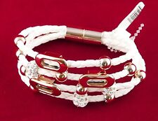 Women's Cuff Bracelet Wooven White Leather Rose Gold Tone Metals and Crystals