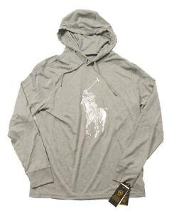 Polo Ralph Lauren Performance Men's Gray Heather Enlarged Pony Logo Hooded Shirt