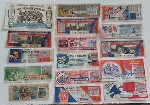 Lot 16 Billets  LOTERIE NATIONALE  années 1939 -43 -46 -49 -51 -54 -55 -57