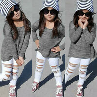 New 2PCS Toddler Kid Baby Girl Outfit Long Sleeve Top T Shirt Pants Leggings Set