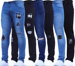 Mens Super Skinny Stretch Punk Retro Gothic Camo Trousers Pants Skull Rip Jeans