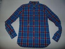 Camisa de Superdry cheques azul-grande para hombre Washbasket botones nuevas, - S5736