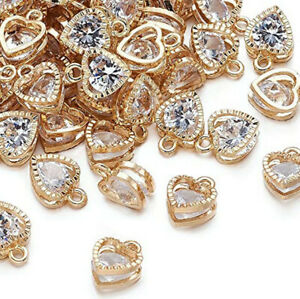 100pcs Alloy Heart Cubic Zirconia Charms gold Tone Dangle Pendant 8.5*12*5mm