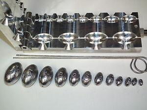 Saltwater Egg Slip Sinker mold 1/8-6oz CNC Aluminum Freshwater