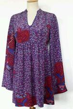 Ladies Mexx dress silk boho peasant gypsy folk Paisley 70's style tunic size 8