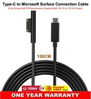 Surface Plug to USB Type C Charging Cable For Surface Pro 3 4 5 6 Go Book 15V AU