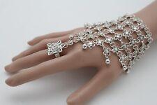 Women Silver Metal Wrist Chain Fashion Jewelry Bracelet Ring Flower Ethnic Look