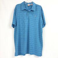 Puma Mens Golf Polo Shirt Dry Cell Blue Stripe Stretch Short Sleeve Size 2XL XXL