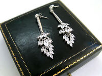 JEWELLERY BEAUTIFUL ART MARQUISE CUT CRYSTAL SILVER EARRINGS