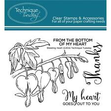Bleeding Hearts Flower Set Clear Unmounted Rubber Stamps TECHNIQUE TUESDAY New