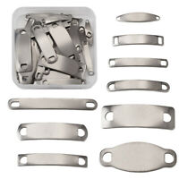 10x 304 Stainless Steel Rectangle Pendant Setting Bezel Charm Blank 25x10mm Tray