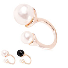 Vogue Women Elegant Double Pearl Cuff Silver Gold Ring Jewelry Gift Adjustable