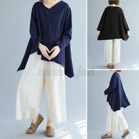 ZANZEA Women Blouse Autumn Long Sleeve V Neck Baggy Cotton Shirt Top Asymmetri