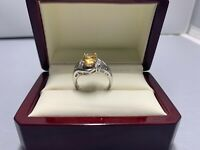 Vintage Ornate Yellow Topaz Sterling Silver 925 6 Ring - Size 7.5