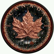 LOGARITHMIC UNIVERSE MAPLE 2016 1 oz Silver Maple Leaf Coin Ruthenium Rose Gold.