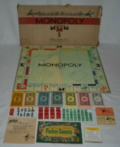 Vintage 1935, 1946 Monopoly Game in Original Box; Wood Houses and Hotels