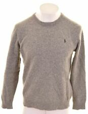 POLO RALPH LAUREN Mens Crew Neck Jumper Sweater Medium Grey Wool  KN06