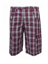 Cotton Check Cargo, Combat Loose Fit Shorts for Men