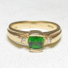 Estate $1800 14K Yellow Gold 0.75 Ct Natural Green Tsavorite Garnet Diamond Ring