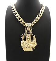 """NEW ANUBIS PENDANT WITH 11mm 20"""" CUBAN CHAIN"""