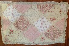 Shabby Chic Pillow Sham Case Cover Slip Pink Cream Quilted Floral Standard Size