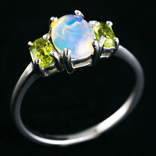 100% NATURAL 8X6MM MULTI FIRE ETHOPIAN WELO OPAL PERIDOT SILVER 925 RING SIZE 8