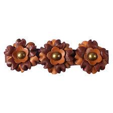 Pince barrette cheveux femme ethnique 3 fleurs cuir rouge marron clair et foncé