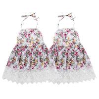 Girls Kids Floral Princess Sleeveless Clothes Summer Casual Dress Lace Sundress