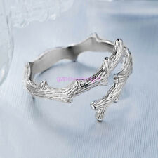 925 Solid Sterling Silver Adjustable Open Band finger Ring Wood Grain Ladies