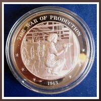 1943 - ROSIE The RIVETER The War of Production - SOLID BRONZE Medal UNCIRCULATED
