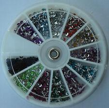 Ruota brillantini LUNE 12 colori decorazione Nail Art