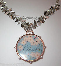GUESS Exclusive Disc Flower Blossom Blue Necklace Collier Rhinestones Gift Pouch