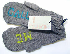 John Lewis Touch Grey Call Me Knitted Mittens Gloves with Angora BNWT