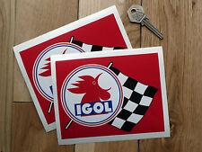 "IGOL Oil Huiles French Motor Racing Car Stickers 6"" Pair Le Mans Ferrari Race"