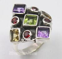 925 SOLID Silver Genuine MULTISTONE MULTICOLORED OXIDIZED Ring Any Size BIJOUX