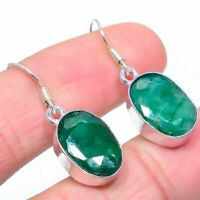 "Emerald Gemstone Handmade Ethnic Jewelry Earring 1.80"" M-41"