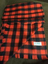Vintage LL Bean Lambswool Signature Checkered Scarf EUC