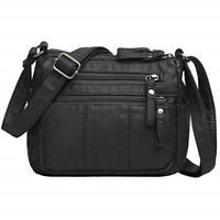 Women Cross body Bags Pocketbooks Soft Leather Purses and Handbags Multi Pocket