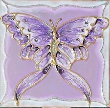 Purple Lavender Butterfly Night Light Wall Plug In Stained Art Glass Decor Gift