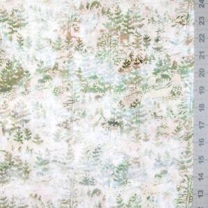 Bali Batik Fabric - Winter Forest & Deer Scene Green Birch - Hoffman YARD