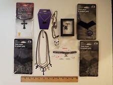 9-lot-gothic halloween necklaces-new-used-black crosses-skull-bat-choker-velvet*