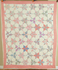 CHEERY Vintage 20's Touching Stars Antique Patchwork Quilt ~NICE QUILTING!