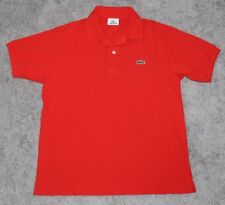 LACOSTE Polo Shirt Men's MEDIUM M Euro 4 Crocodile RED Cotton Gator SS Pique